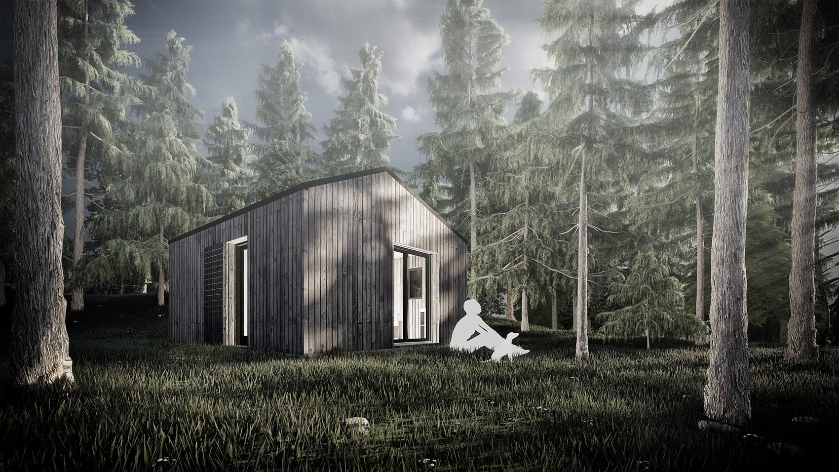 Cabane d'architecte dans la foret