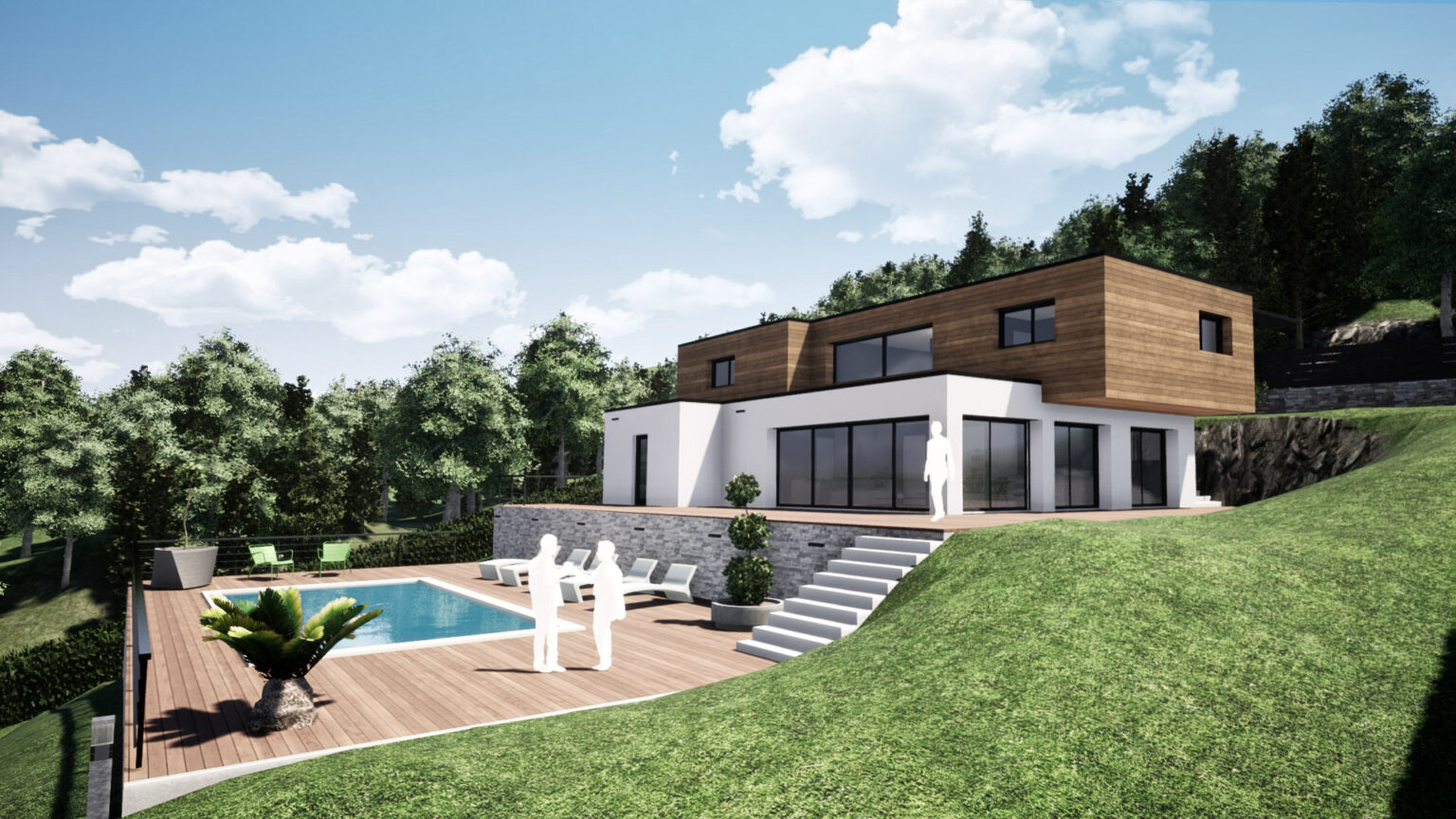 construction maison contemporaine dans le gresivaudan